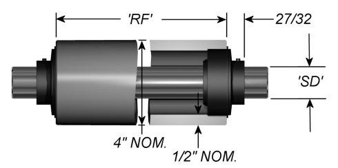 "Standard Aluminum Idler Rollers - Dead Shaft - 4"" OD"