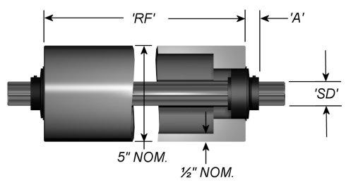 "Standard Aluminum Idler Rollers - Dead Shaft - 5"" OD"