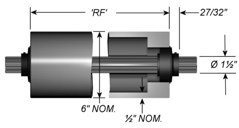 "Standard Aluminum Idler Rollers - Dead Shaft - 6"" OD"