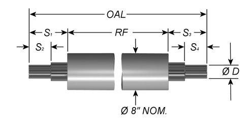 """Standard Aluminum Idler Rollers - Live Shaft - 8"""" OD"""