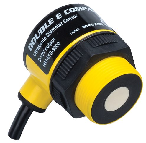 Ultrasonic sensor for measuring roll diameter in open loop tension control systems