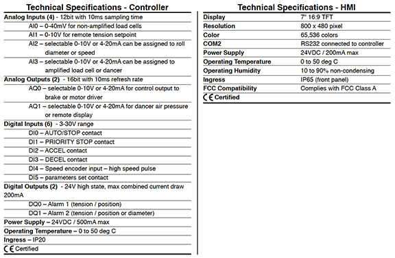Web Tension Controller technical specifications