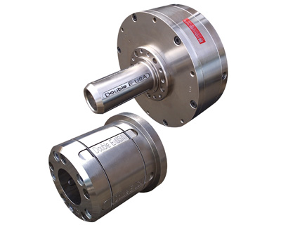 Double E PC-4000 shaftless core chuck with slide-on adapter for various core sizes